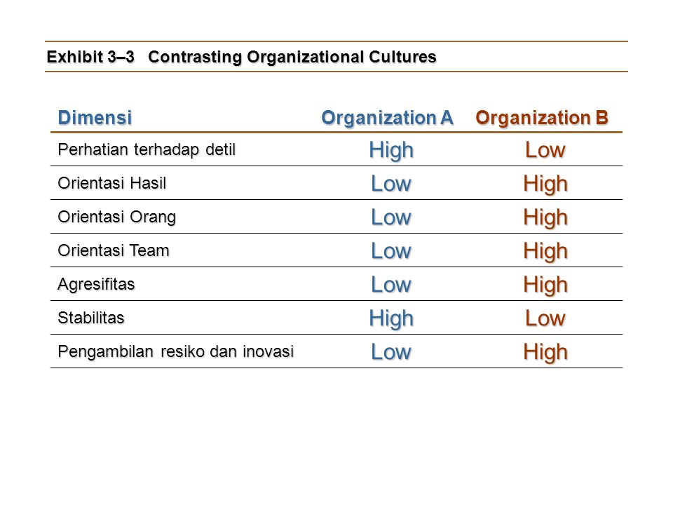 Exhibit 3–3 Contrasting Organizational Cultures