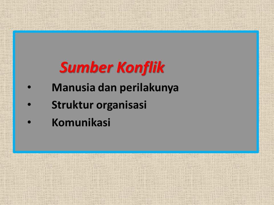 Sumber Konflik Manusia dan perilakunya Struktur organisasi Komunikasi