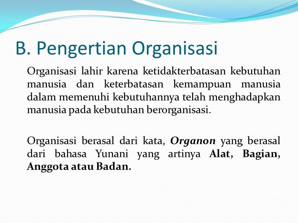 B. Pengertian Organisasi