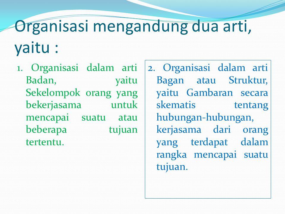 Organisasi mengandung dua arti, yaitu :