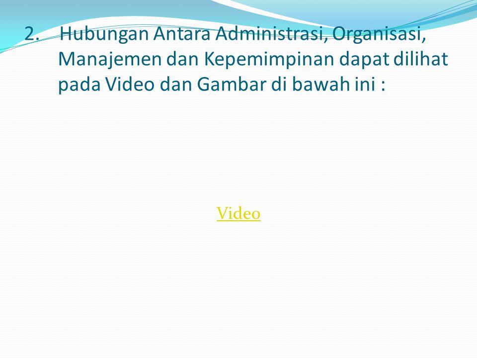 2. Hubungan Antara Administrasi, Organisasi, Manajemen dan Kepemimpinan dapat dilihat pada Video dan Gambar di bawah ini :