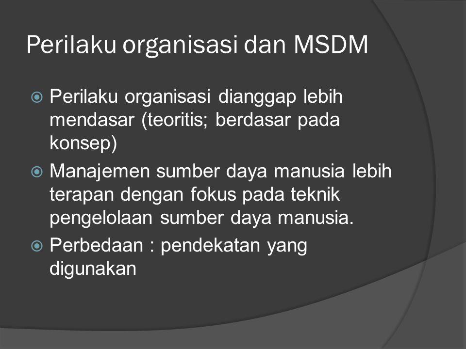 Perilaku organisasi dan MSDM