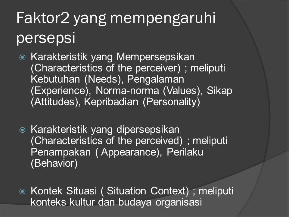 Faktor2 yang mempengaruhi persepsi