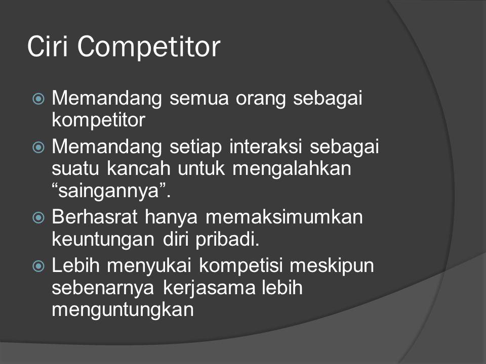 Ciri Competitor Memandang semua orang sebagai kompetitor