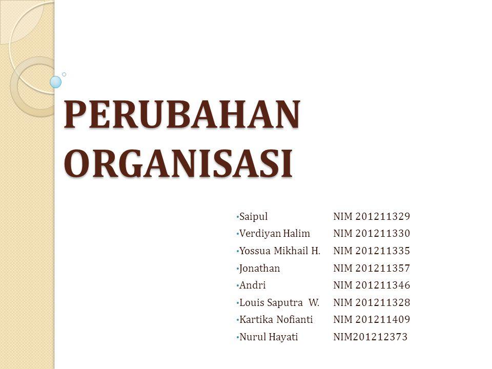PERUBAHAN ORGANISASI Saipul NIM 201211329 Verdiyan Halim NIM 201211330