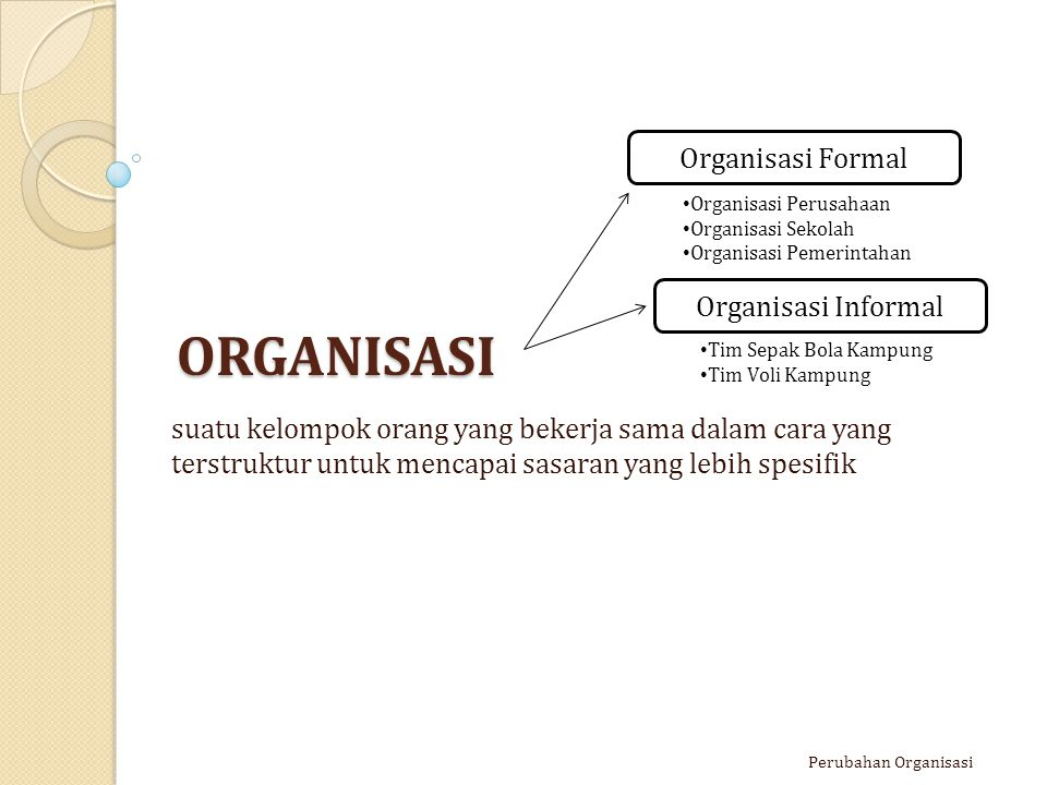 ORGANISASI Organisasi Formal Organisasi Informal