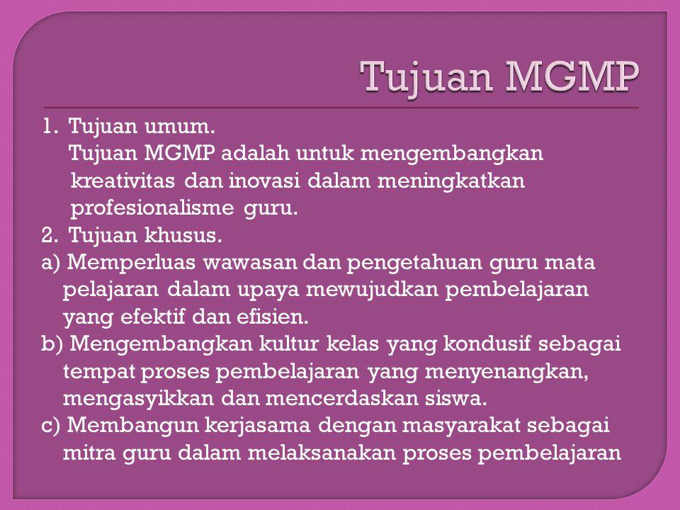 Tujuan MGMP