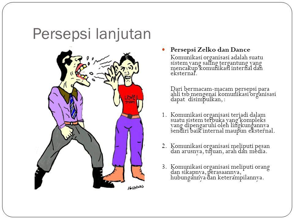 Persepsi lanjutan Persepsi Zelko dan Dance