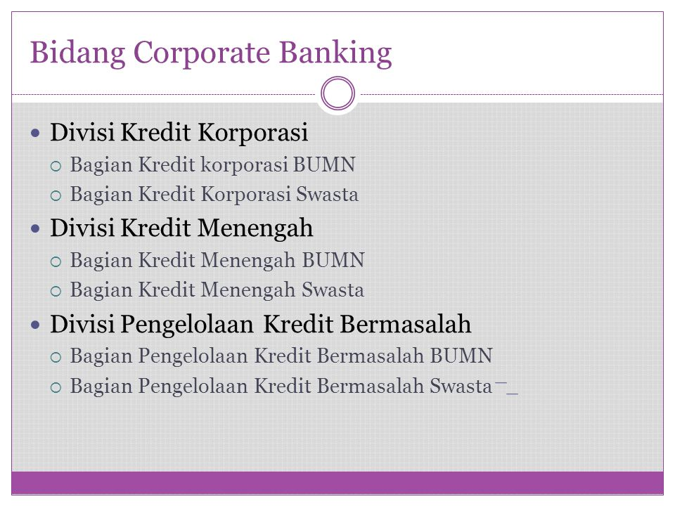 Bidang Corporate Banking