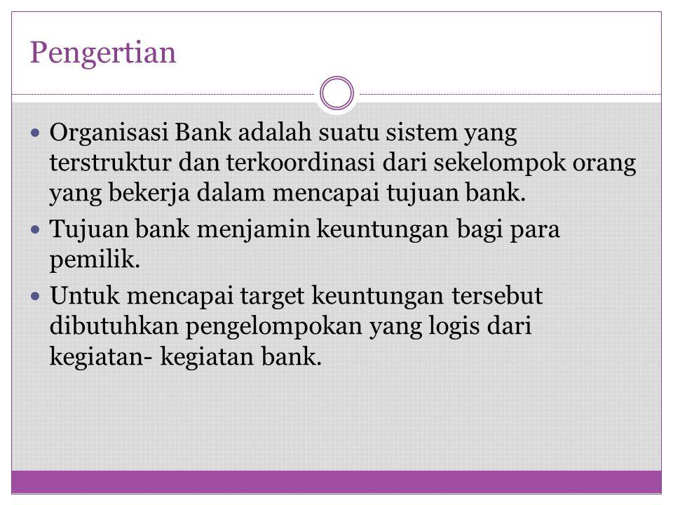 Pengertian Organisasi Bank adalah suatu sistem yang terstruktur dan terkoordinasi dari sekelompok orang yang bekerja dalam mencapai tujuan bank.