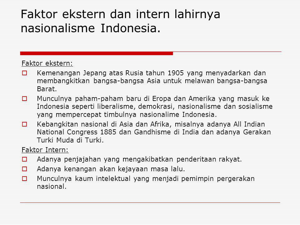 Faktor ekstern dan intern lahirnya nasionalisme Indonesia.