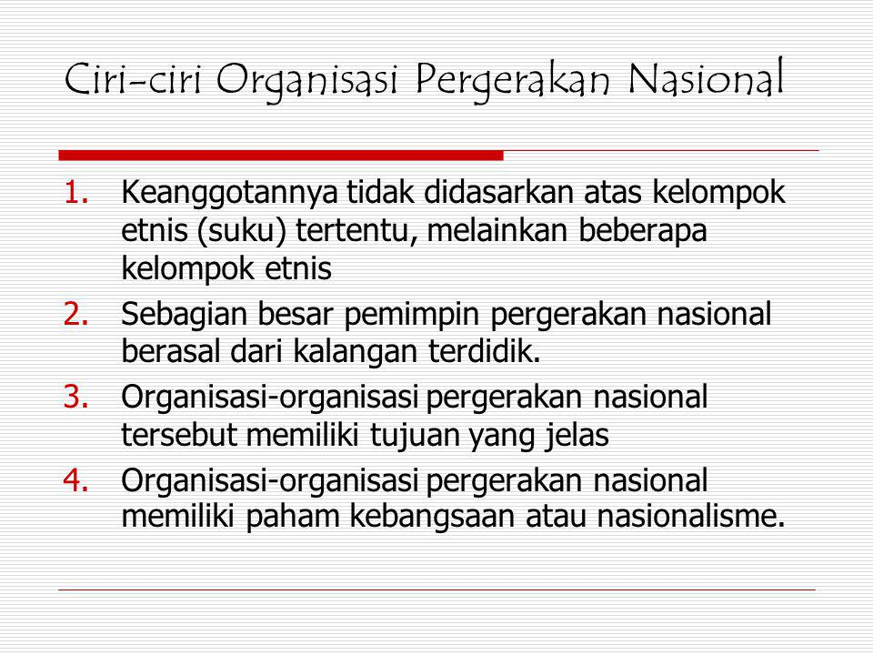 Ciri-ciri Organisasi Pergerakan Nasional