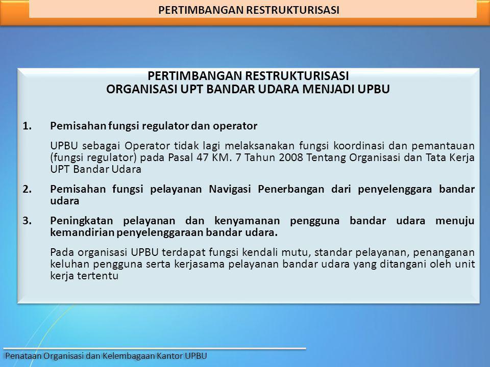 PERTIMBANGAN RESTRUKTURISASI ORGANISASI UPT BANDAR UDARA MENJADI UPBU