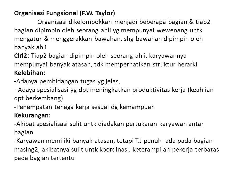 Organisasi Fungsional (F. W. Taylor)