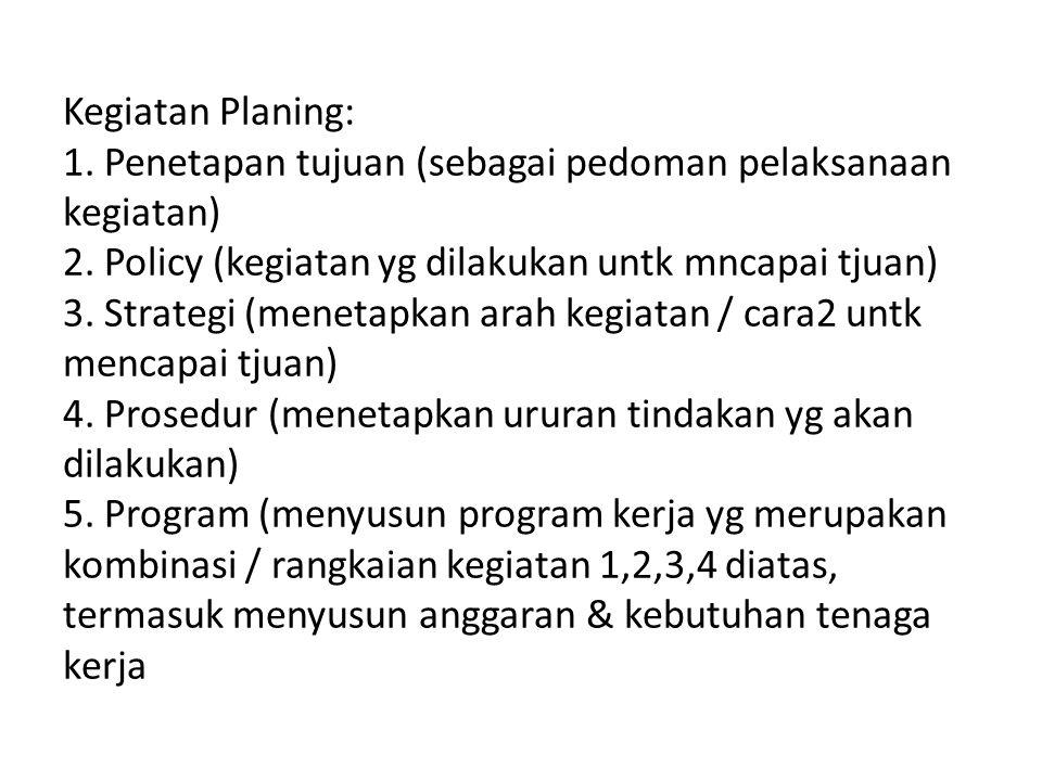 Kegiatan Planing: 1. Penetapan tujuan (sebagai pedoman pelaksanaan kegiatan) 2.