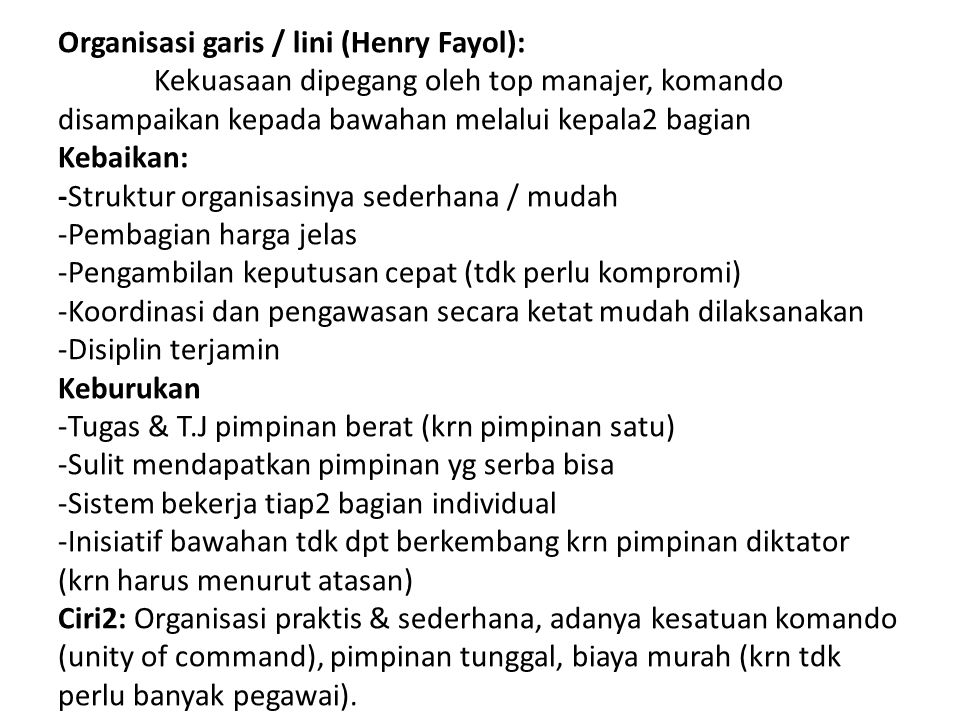 Organisasi garis / lini (Henry Fayol):