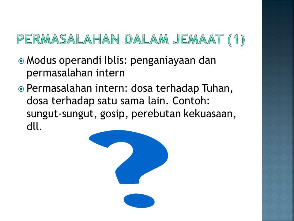 Permasalahan dalam jemaat (1)