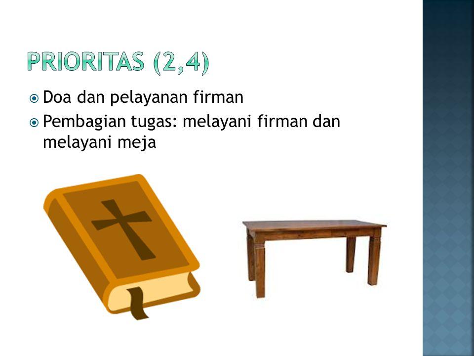 Prioritas (2,4) Doa dan pelayanan firman