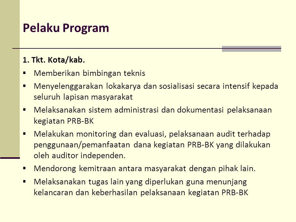 Pelaku Program 1. Tkt. Kota/kab. Memberikan bimbingan teknis