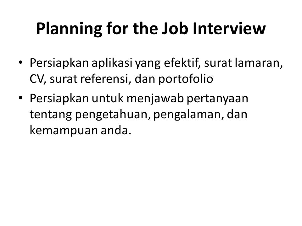 Planning for the Job Interview