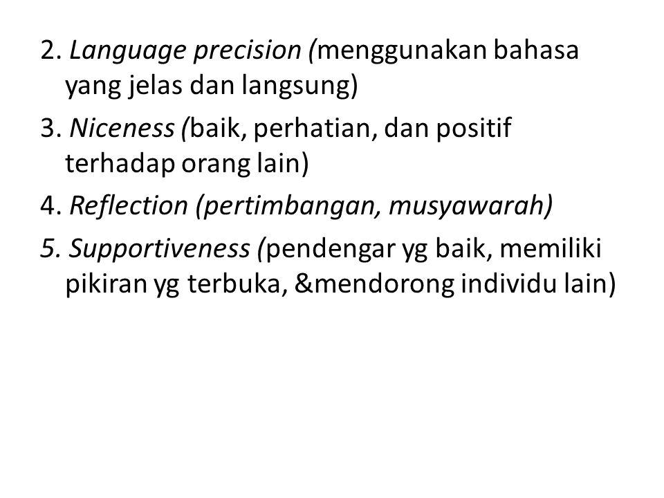 2. Language precision (menggunakan bahasa yang jelas dan langsung) 3