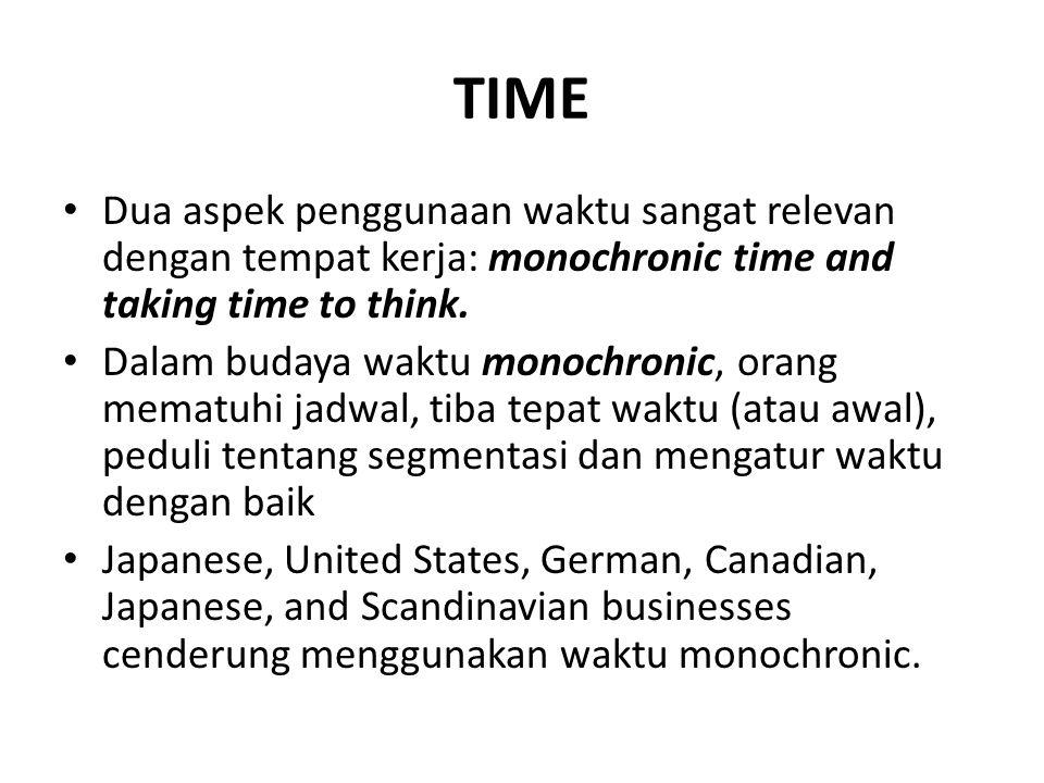 TIME Dua aspek penggunaan waktu sangat relevan dengan tempat kerja: monochronic time and taking time to think.