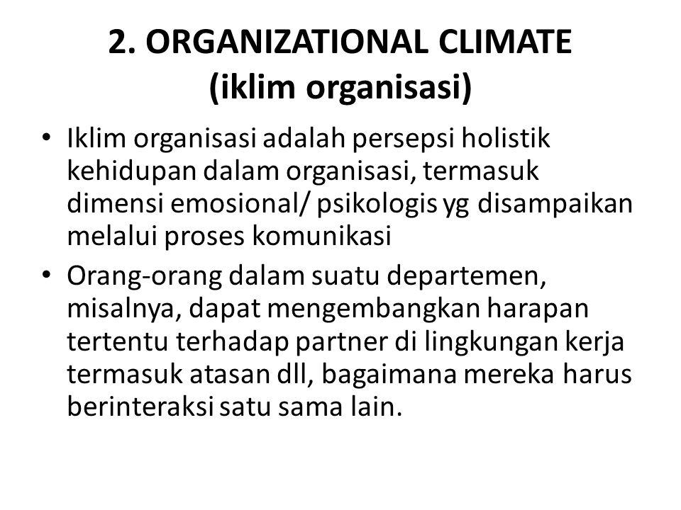 2. ORGANIZATIONAL CLIMATE (iklim organisasi)