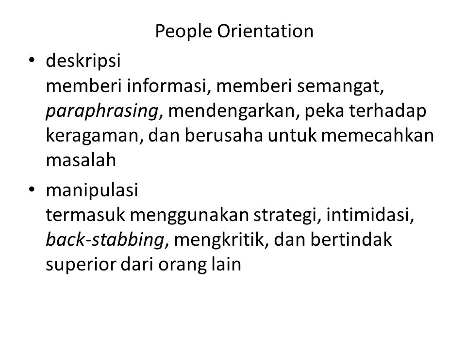 People Orientation