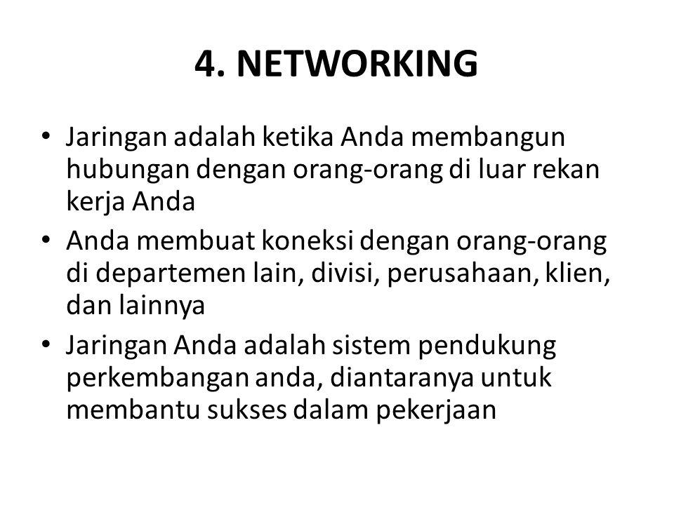 4. NETWORKING Jaringan adalah ketika Anda membangun hubungan dengan orang-orang di luar rekan kerja Anda.