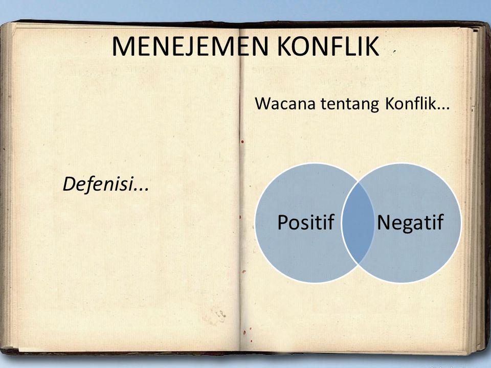 MENEJEMEN KONFLIK Defenisi... Wacana tentang Konflik... Positif