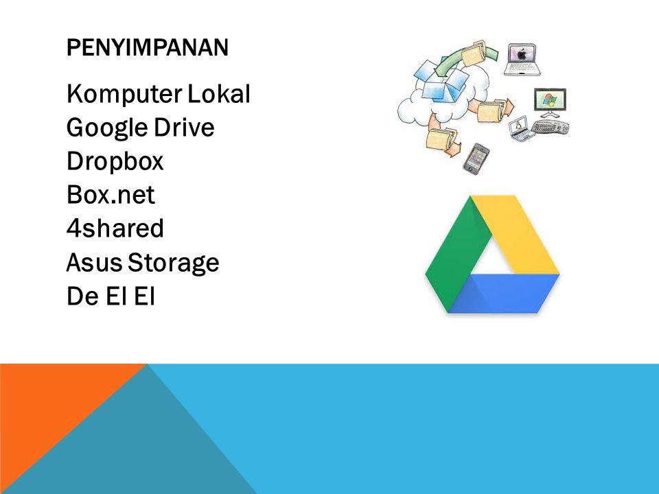 Penyimpanan Komputer Lokal Google Drive Dropbox Box.net 4shared Asus Storage De El El