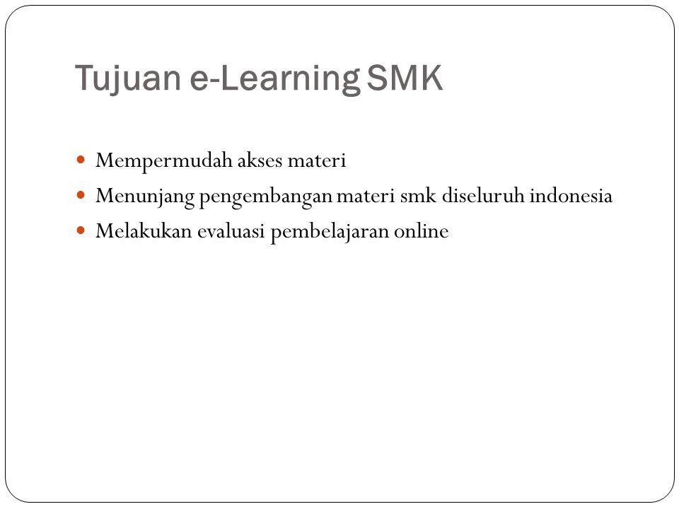 Tujuan e-Learning SMK Mempermudah akses materi
