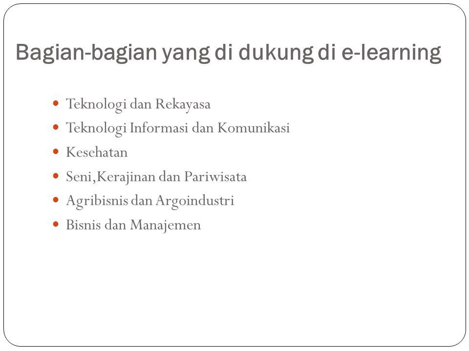 Bagian-bagian yang di dukung di e-learning