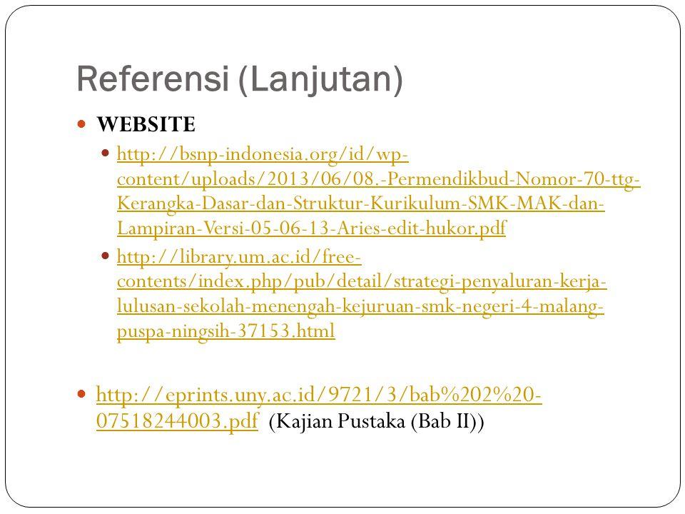 Referensi (Lanjutan) WEBSITE