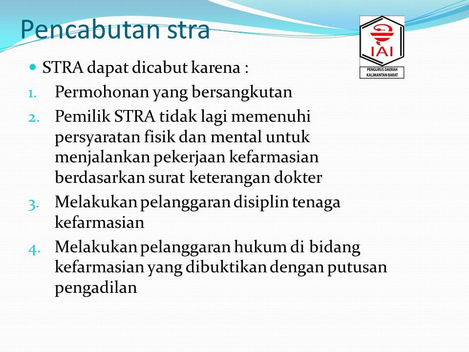 Pencabutan stra STRA dapat dicabut karena :