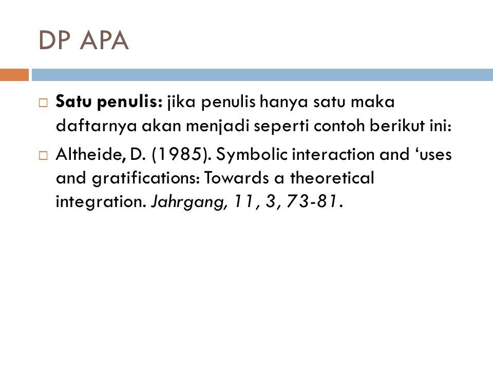 DP APA Satu penulis: jika penulis hanya satu maka daftarnya akan menjadi seperti contoh berikut ini: