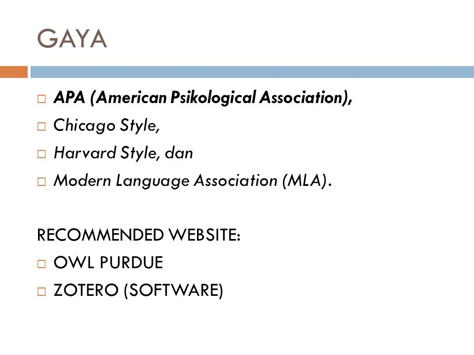 GAYA APA (American Psikological Association), Chicago Style,