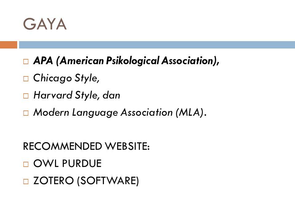 GAYA APA (American Psikological Association), Chicago Style,