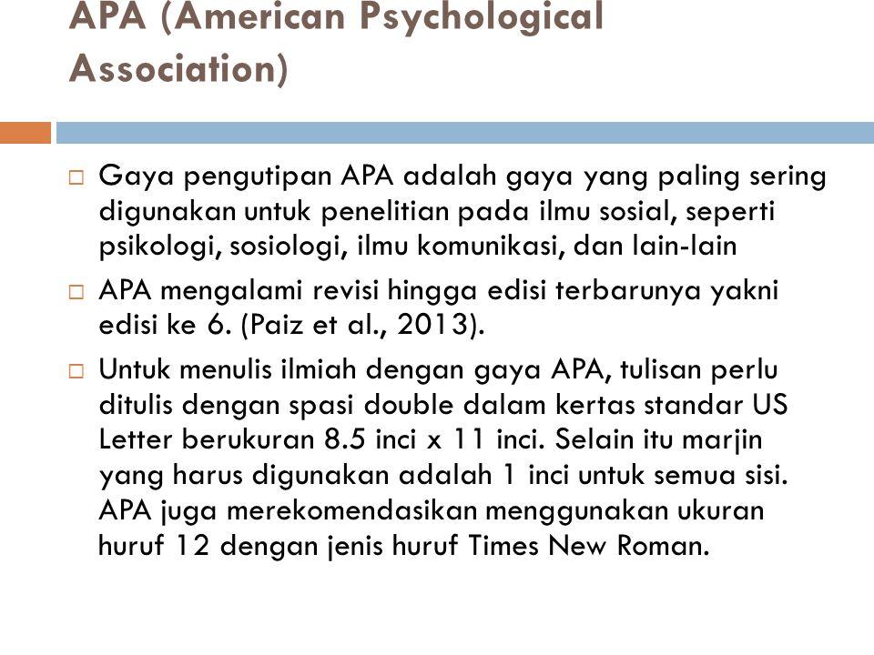 APA (American Psychological Association)