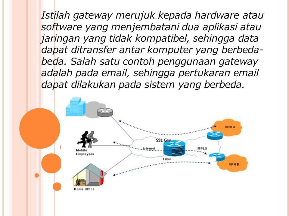 Istilah gateway merujuk kepada hardware atau software yang menjembatani dua aplikasi atau jaringan yang tidak kompatibel, sehingga data dapat ditransfer antar komputer yang berbeda-beda.