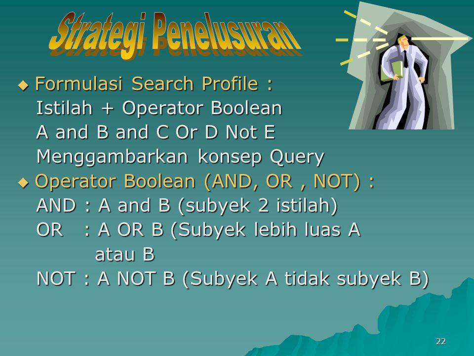 Strategi Penelusuran Formulasi Search Profile :