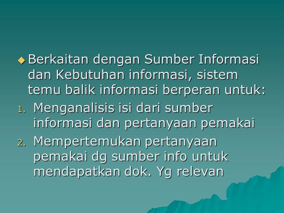 Berkaitan dengan Sumber Informasi dan Kebutuhan informasi, sistem temu balik informasi berperan untuk:
