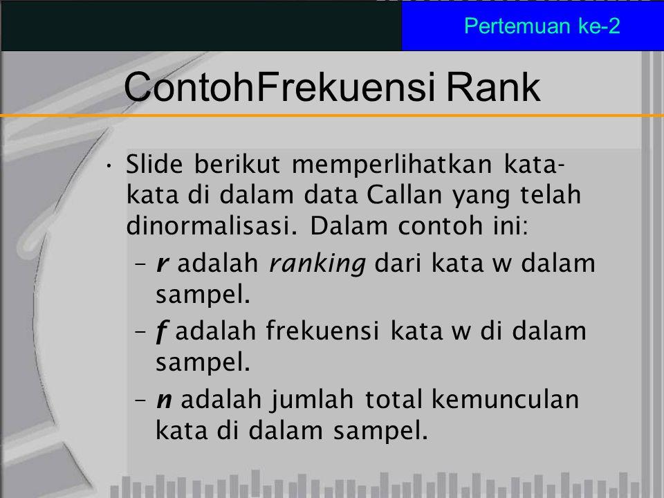 Pertemuan ke-2 Contoh Frekuensi Rank. Slide berikut memperlihatkan kata-kata di dalam data Callan yang telah dinormalisasi. Dalam contoh ini: