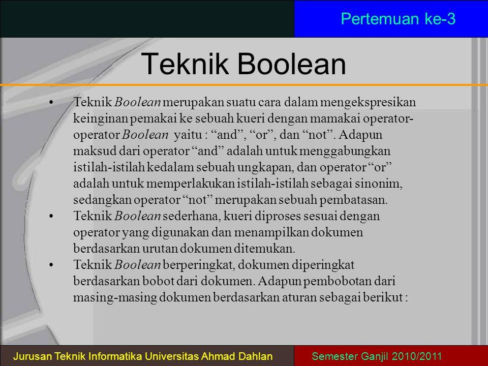 Teknik Boolean Pertemuan ke-3