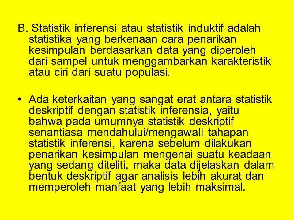 B. Statistik inferensi atau statistik induktif adalah statistika yang berkenaan cara penarikan kesimpulan berdasarkan data yang diperoleh dari sampel untuk menggambarkan karakteristik atau ciri dari suatu populasi.