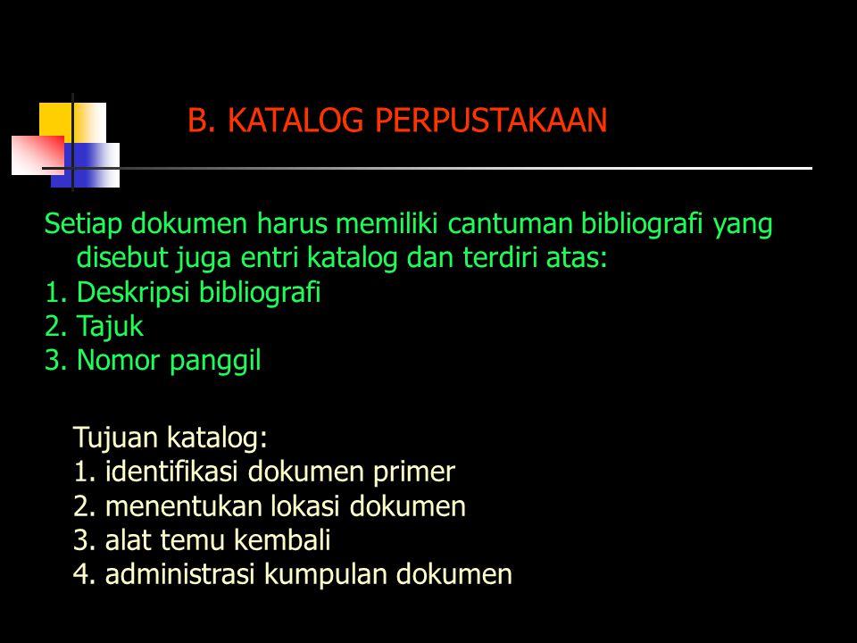 B. KATALOG PERPUSTAKAAN