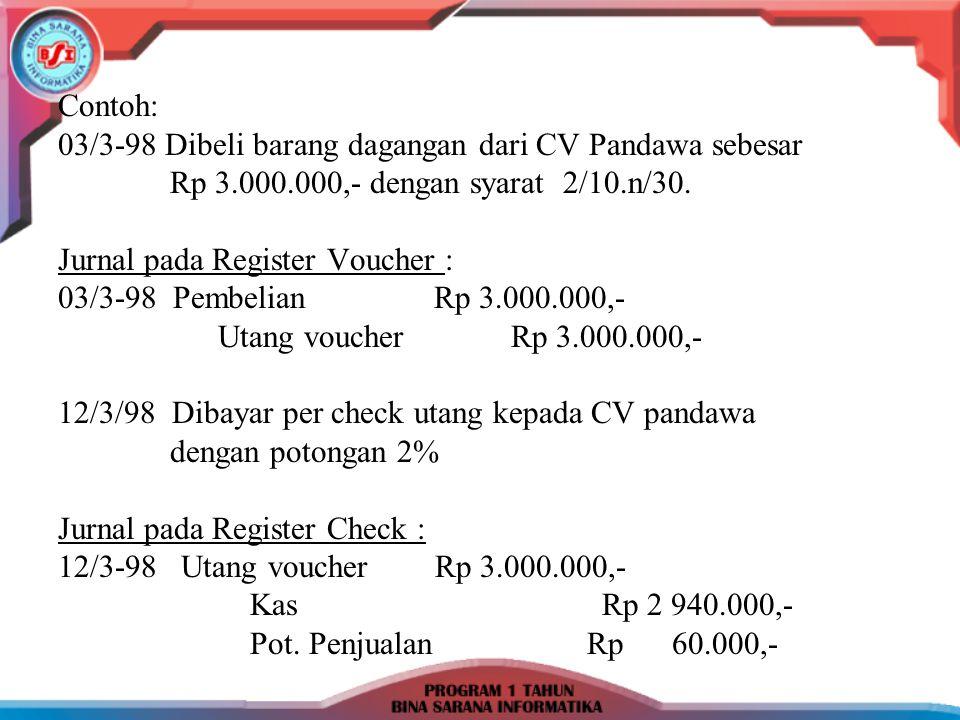 Contoh: 03/3-98 Dibeli barang dagangan dari CV Pandawa sebesar. Rp 3.000.000,- dengan syarat 2/10.n/30.