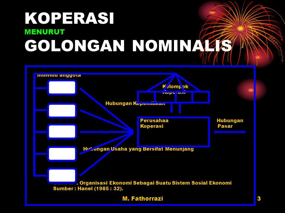 KOPERASI MENURUT GOLONGAN NOMINALIS