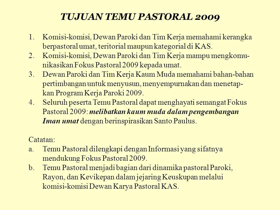 TUJUAN TEMU PASTORAL 2009 1. Komisi-komisi, Dewan Paroki dan Tim Kerja memahami kerangka. berpastoral umat, teritorial maupun kategorial di KAS.