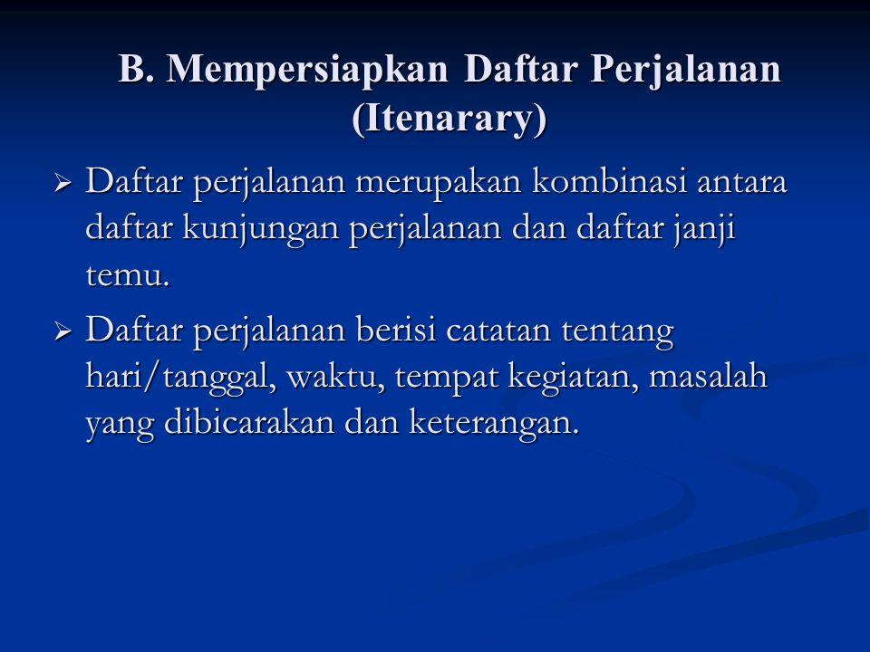 B. Mempersiapkan Daftar Perjalanan (Itenarary)
